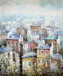 """""""Vue Sur Montmartre"""", Lucien Delarue, Impressionist, Paris, 22x18, Original Oil"""