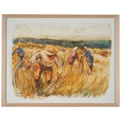 Lucien Desmaré '1905-1961', Farm scene with Peasants, Framed and Signed
