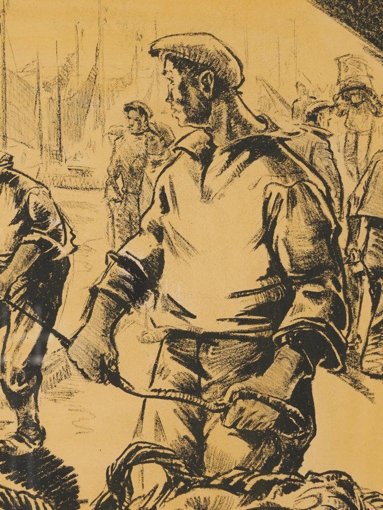 Belgian Lucien Desmaré, Fishermen in the Harbor, Framed and Signed For Sale
