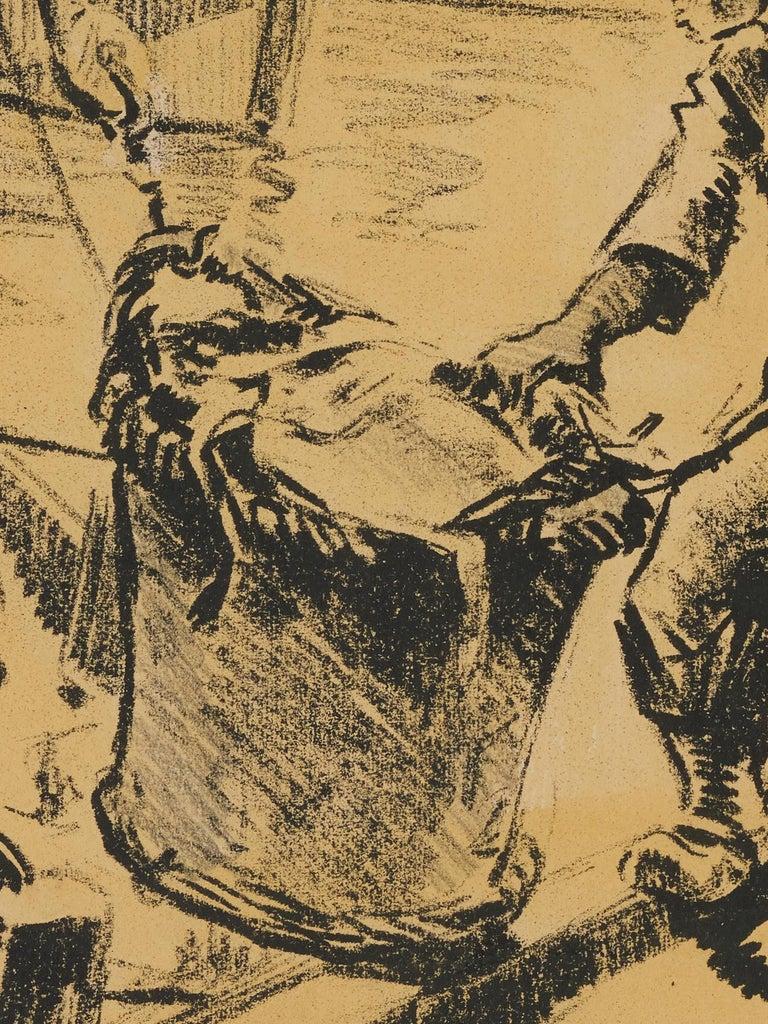 Paper Lucien Desmaré, Fishermen in the Harbor, Framed and Signed For Sale