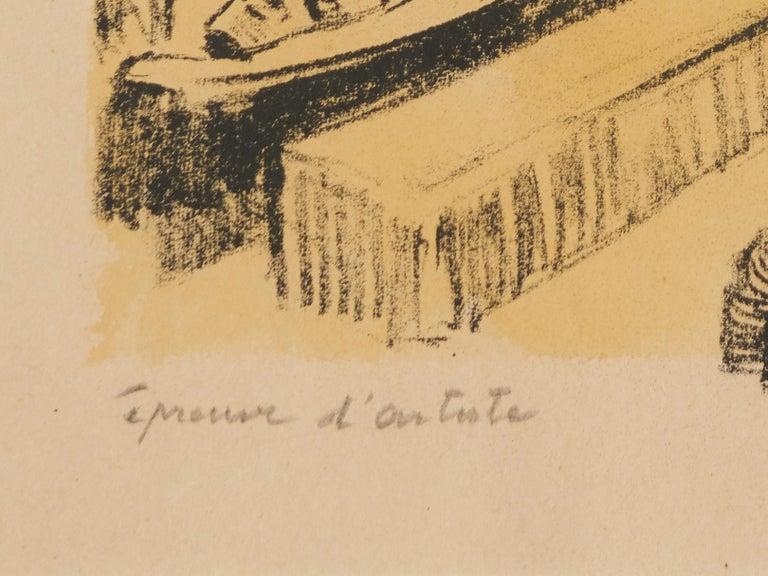 Lucien Desmaré, Fishermen in the Harbor, Framed and Signed For Sale 1