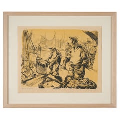 Lucien Desmaré, Fishermen in the Harbor, Framed and Signed