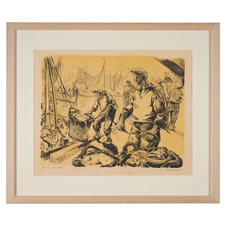 Lucien Desmaré, Fishermen in the Harbor, Framed and Signed For Sale