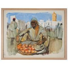 Lucien Desmaré '1905-1961', Fruitseller on Townsquare, Framed and Signed