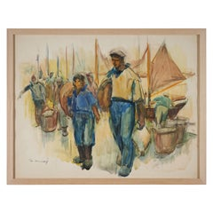 Lucien Desmaré, Harborview, Framed and Signed