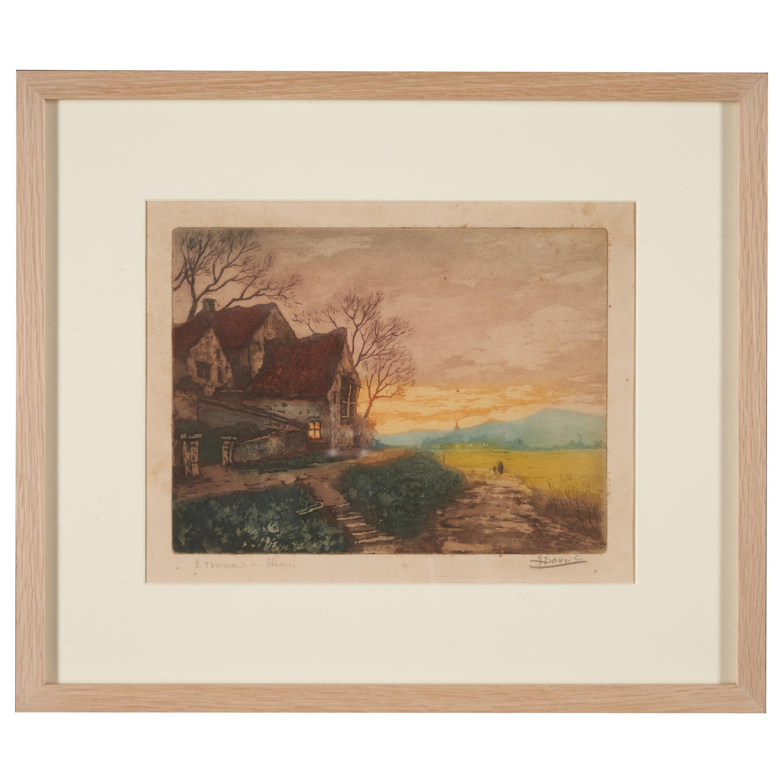 Lucien Desmaré, Sunset Landscape, Framed and Signed