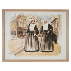 Lucien Desmaré, Street View with Two Nuns, Framed and Signed