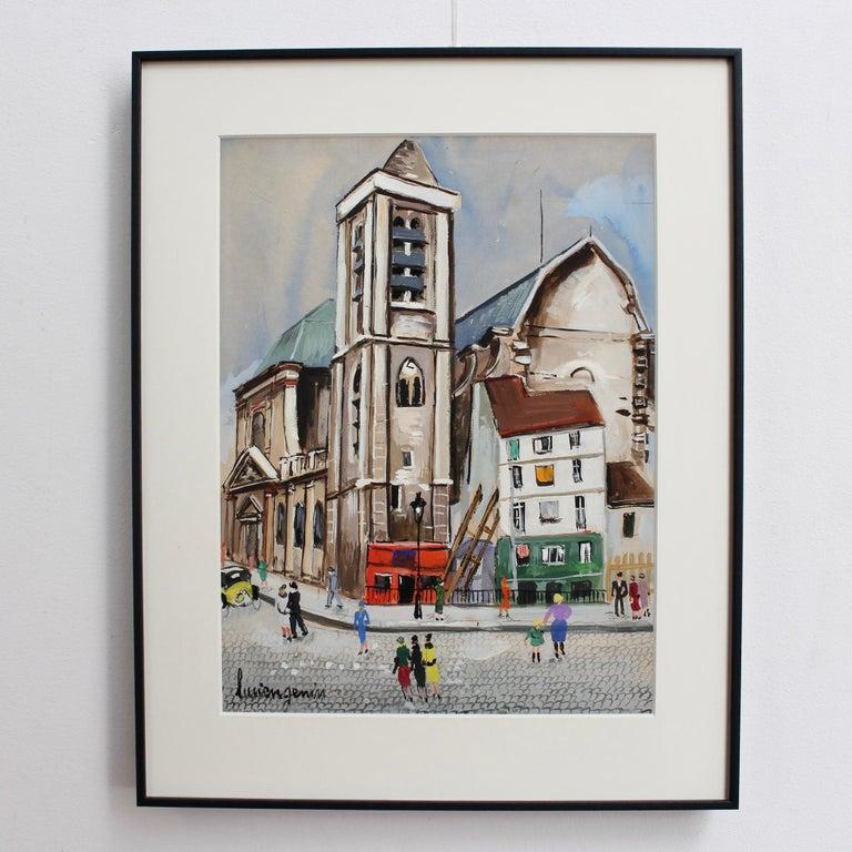 Church of Saint-Nicolas du Chardonnet in Paris - Painting by Lucien Génin