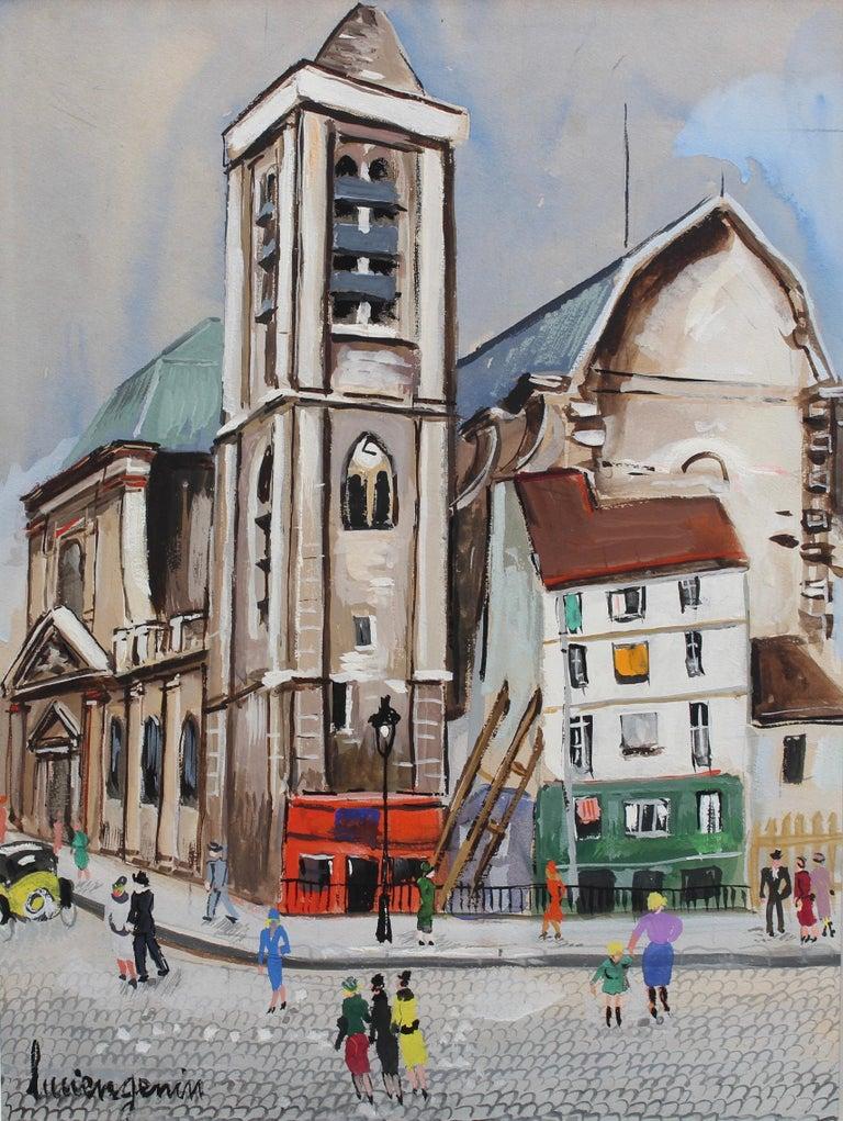 Lucien Génin Figurative Painting - Church of Saint-Nicolas du Chardonnet in Paris