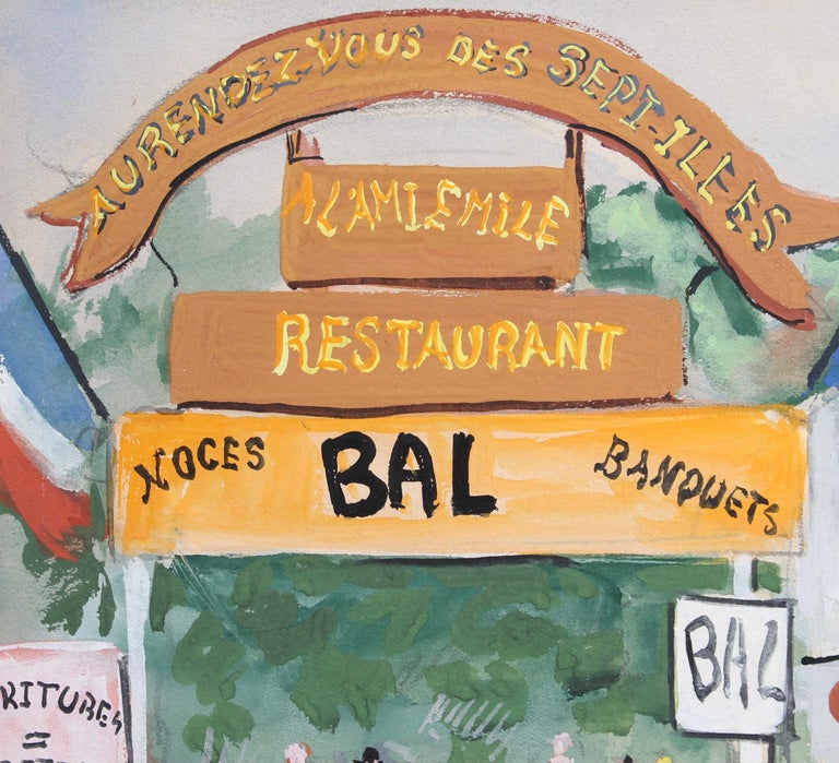 'Emile's Tavern', gouache on paper (circa 1930s), by Lucien Génin. A tavern in French is called a 'guinguette'. With the rise in living standards from the 1860s along with the development of public transport, guingettes set up in the Parisian