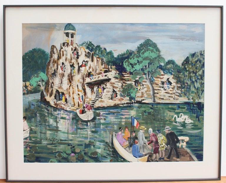 Parc des Buttes-Chaumont, Paris - Post-Impressionist Painting by Lucien Génin