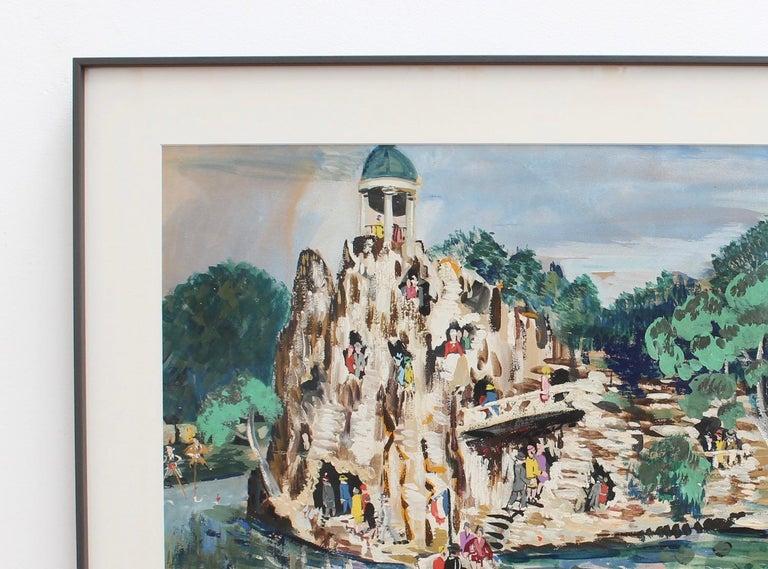Parc des Buttes-Chaumont, Paris - Gray Landscape Painting by Lucien Génin
