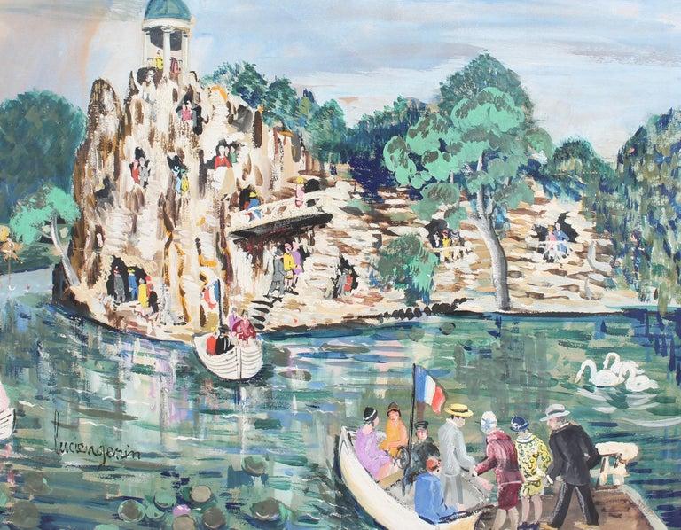 Lucien Génin Landscape Painting - Parc des Buttes-Chaumont, Paris
