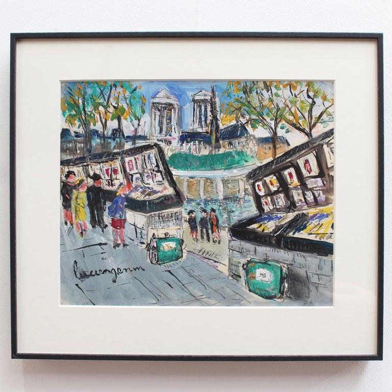 Paris Booksellers (Bouquinistes) Along the River Seine - Art by Lucien Génin