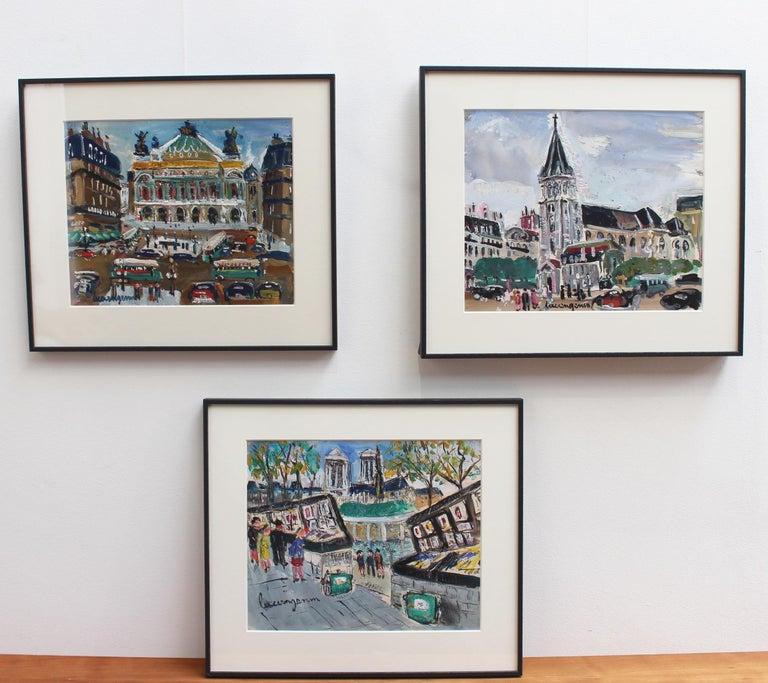 Paris Booksellers (Bouquinistes) Along the River Seine - Post-Impressionist Art by Lucien Génin
