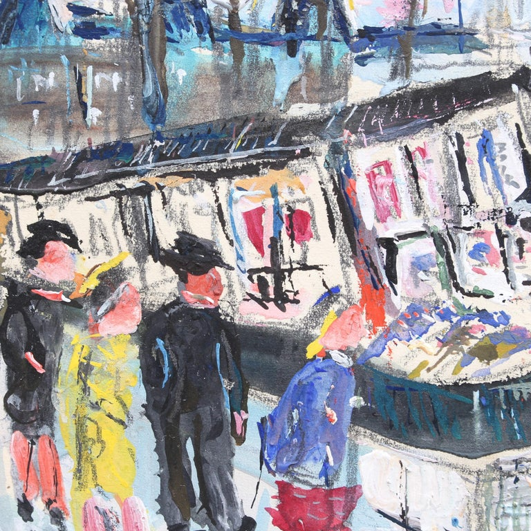 'Paris Booksellers Along the River Seine', gouache on paper (circa 1930s), by Lucien Génin. The used-book sellers (bouquinistes) you see along the Seine around Notre-Dame are a Parisian fixture. These hardy entrepreneurs are very lucky indeed as the