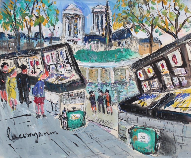 Lucien Génin Landscape Art - Paris Booksellers (Bouquinistes) Along the River Seine