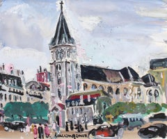 'View of Saint Germain des Pres Church' by Lucien Génin, Paris (circa 1930s)
