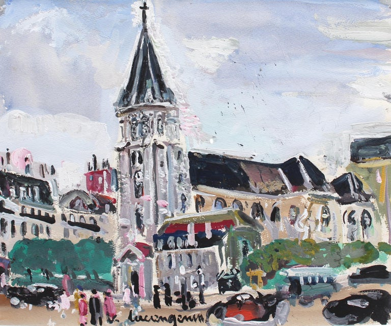 'View of Saint Germain des Pres Church', gouache on paper (circa 1930s), by Lucien Génin. Saint Germain des Pres is one of the oldest Romanesque churches in France founded in 558 AD. The church and abbey were built on the ruins of a Roman temple and