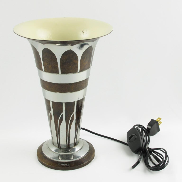 Mid-20th Century Lucien Gerfaux France 1930s Art Deco Uplight Table Metal Lamp For Sale