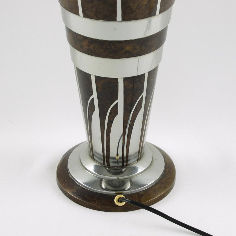Lucien Gerfaux France 1930s Art Deco Uplight Table Metal Lamp For Sale 2