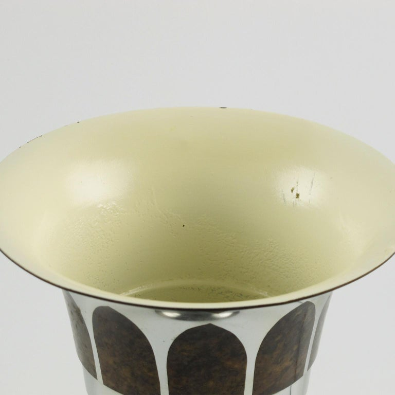 Lucien Gerfaux France 1930s Art Deco Uplight Table Metal Lamp For Sale 3