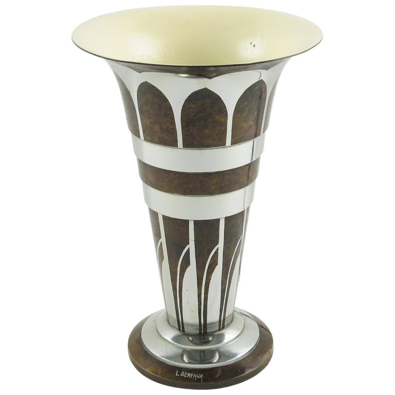 Lucien Gerfaux France 1930s Art Deco Uplight Table Metal Lamp For Sale