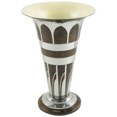 Lucien Gerfaux France 1930s Art Deco Uplight Table Metal Lamp