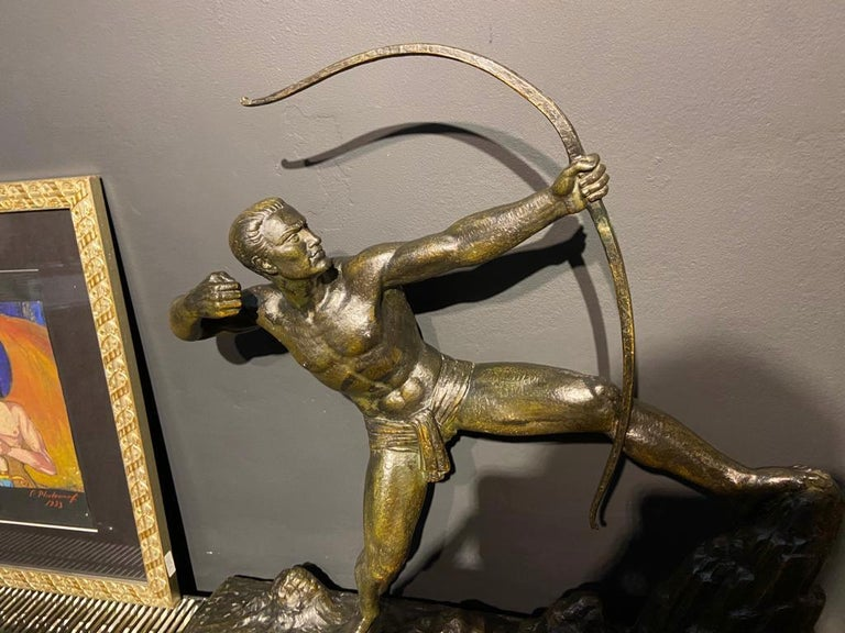 Lucien Gibert Bronze Statue 'The Archer' French Art Deco Sculpture In Good Condition For Sale In Oakland, CA