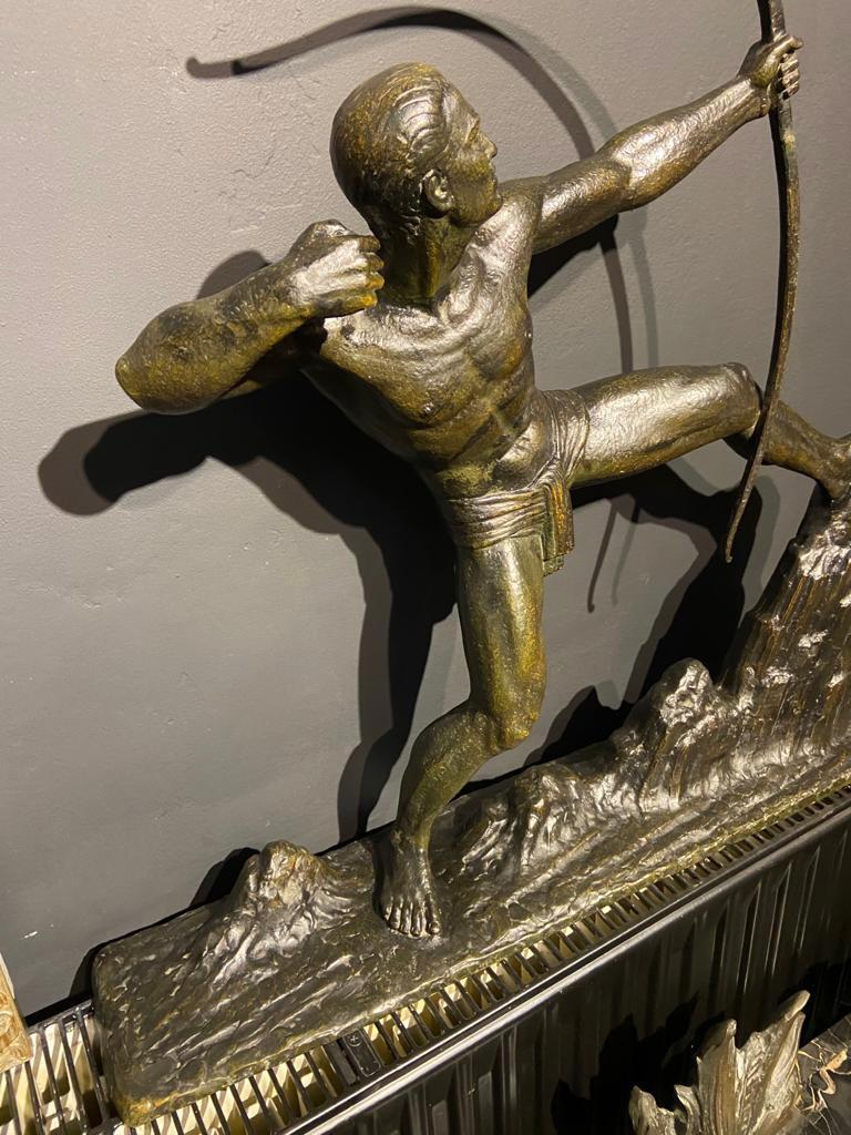 Mid-20th Century Lucien Gibert Bronze Statue 'The Archer' French Art Deco Sculpture For Sale