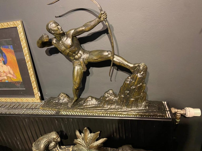 Lucien Gibert Bronze Statue 'The Archer' French Art Deco Sculpture For Sale 4