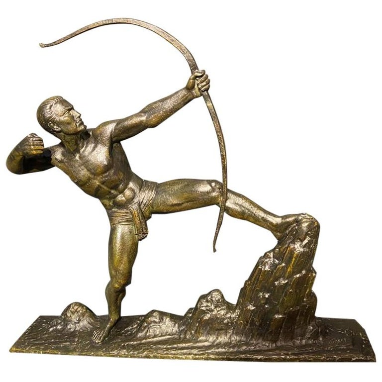 Lucien Gibert Bronze Statue 'The Archer' French Art Deco Sculpture For Sale