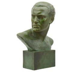 Lucien Gibert French Art Deco Man Bust Terracotta, 1930s