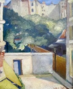 1920s Modernist oil painting of a Paris street scene by Lucien Labaudt