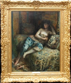 Odalisque - Woman in a Harem - French 1900 Orientalist art portrait oil painting
