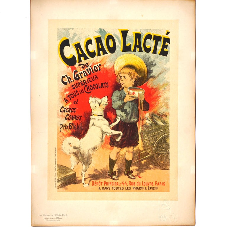Artist: Lucien Lefevre French (1850-1902) Plate: PL. 11, circa 1896 Title: Cacao Lacte Condition A. Original lithograph from
