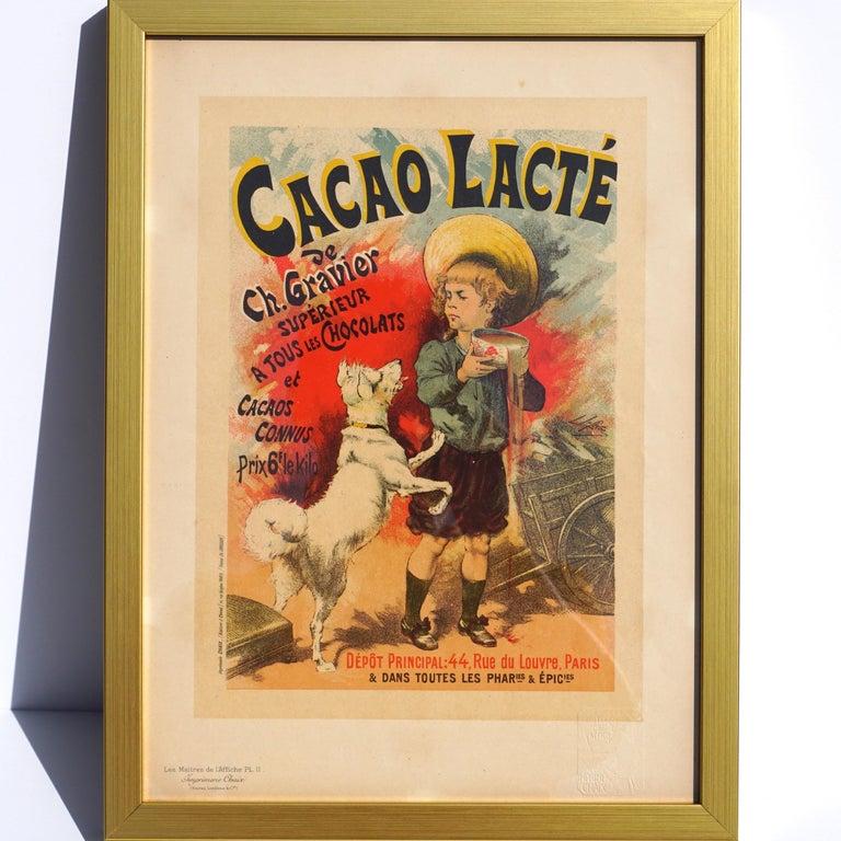 """Art Nouveau Lucien Lefevre Original Poster """"Cacao Lacte"""" 1896 Chaix"""