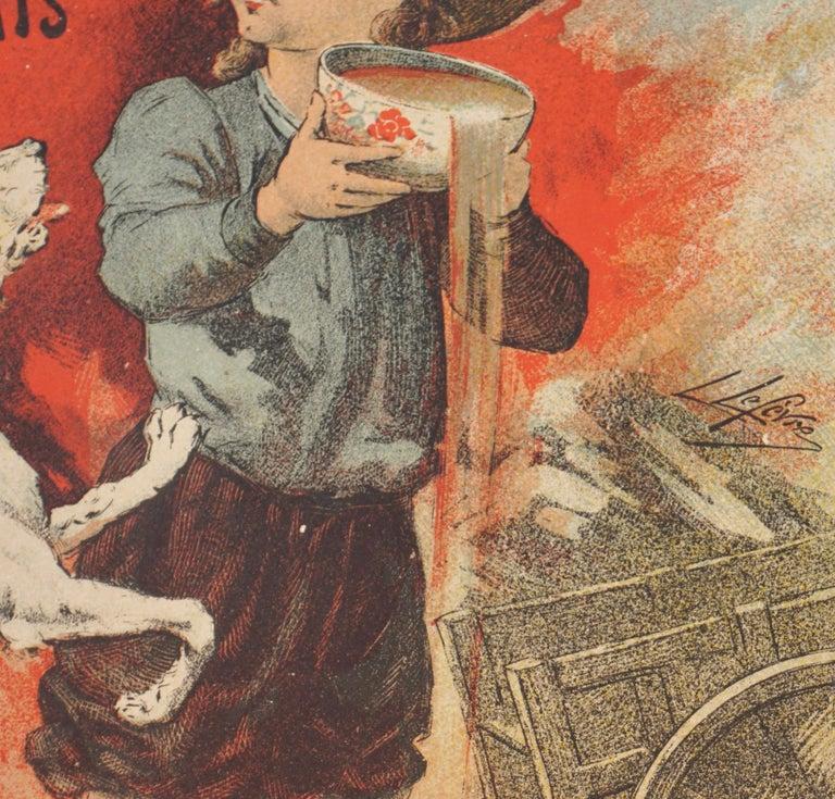 """French Lucien Lefevre Original Poster """"Cacao Lacte"""" 1896 Chaix"""