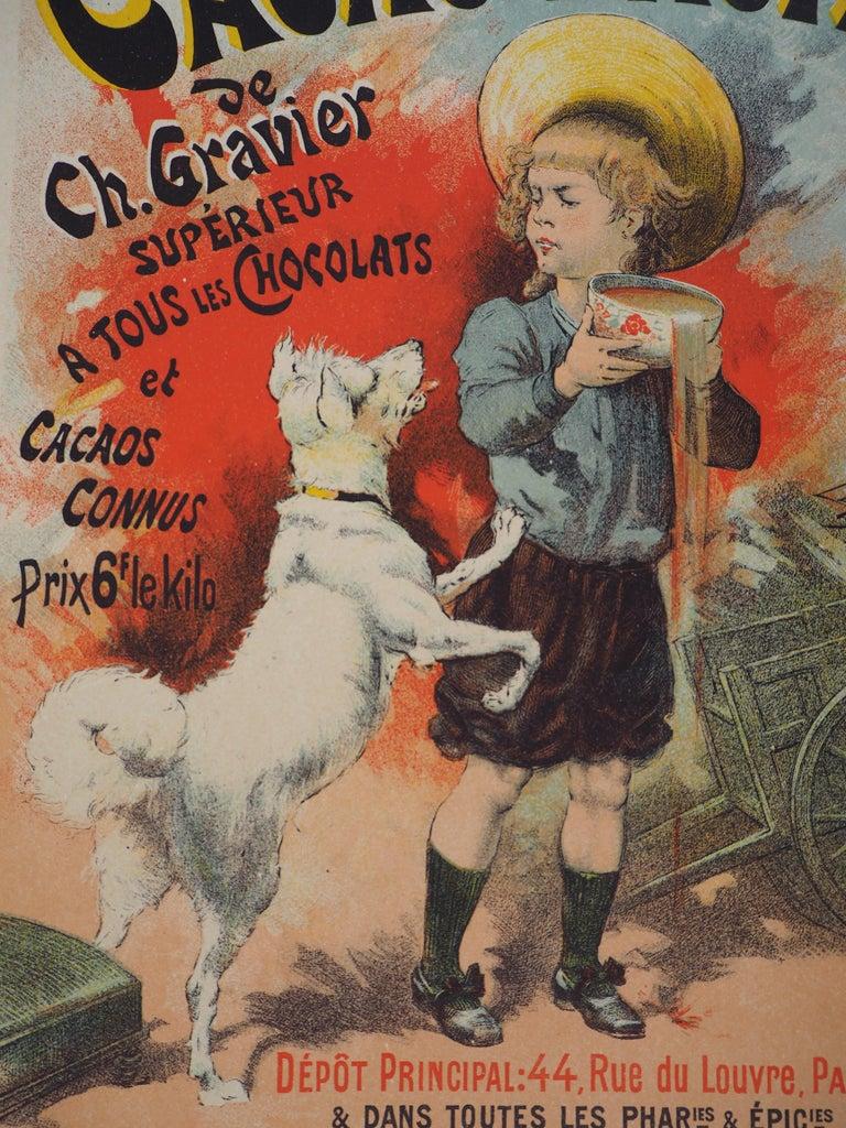 Cacao lacté (Milky cocoa) - Lithograph (Les Maîtres de l'Affiche), 1895 - Brown Figurative Print by Lucien Lefevre