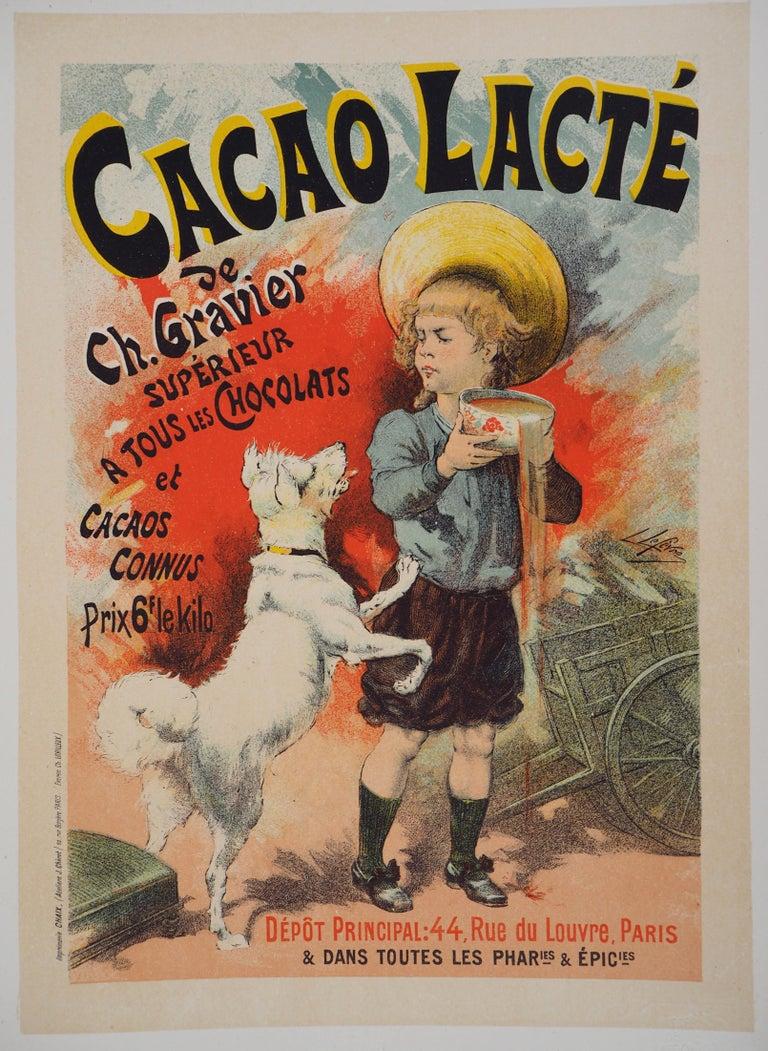 Lucien Lefevre Figurative Print - Cacao lacté (Milky cocoa) - Lithograph (Les Maîtres de l'Affiche), 1895