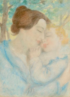 Maternite - Symbolist Pastel, Portrait of Mother & Child by Lucien Levy-Dhurmer