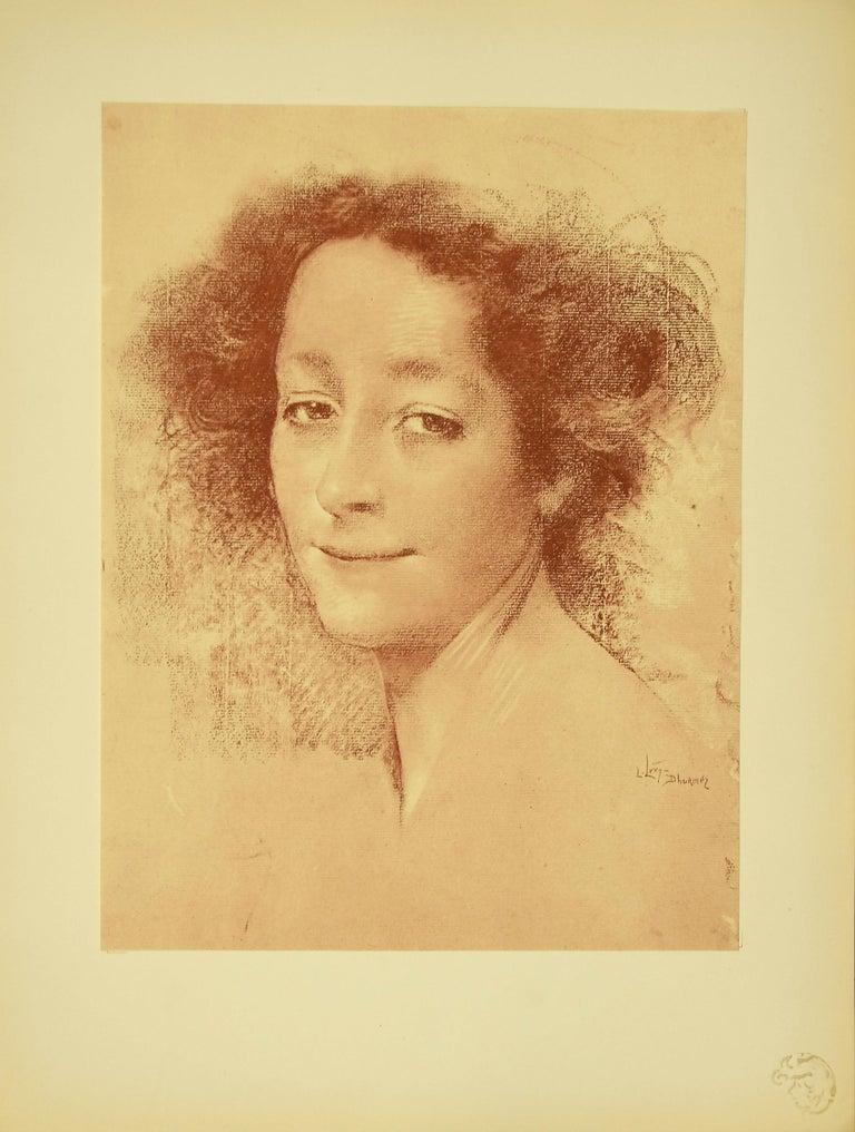 Lucien Levy-Dhurmer Portrait Print -  Belle D'Antan - Original Lithograph by L. Levy-Dhurmer - 1897