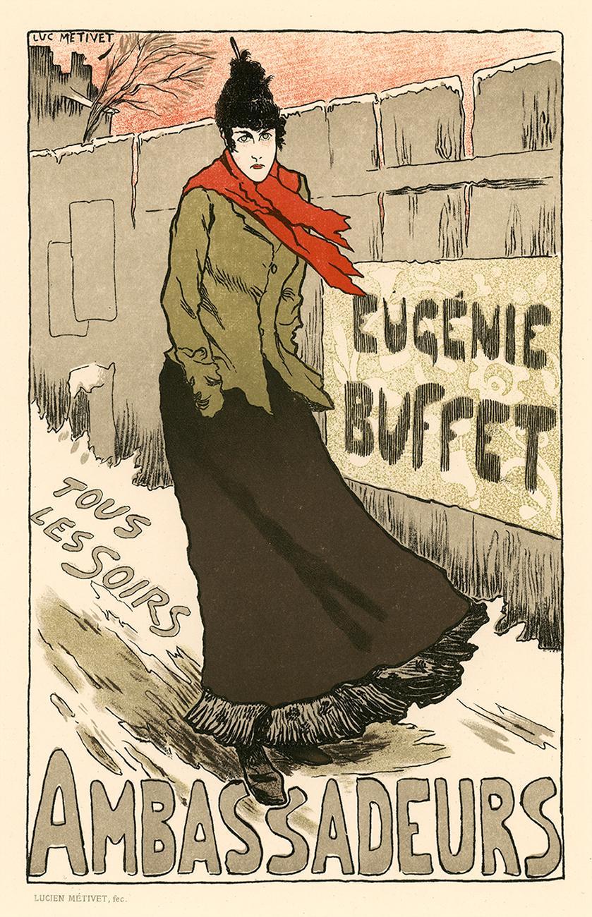 Eugénie Buffet Ambassadeurs by Lucien Métivet, Imperial Japon lithograph, 1897