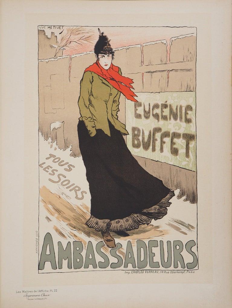 Eugénie Buffet (Ambassadeurs) - Lithograph (Les Maîtres de l'Affiche), 1895 - Print by Lucien Métivet