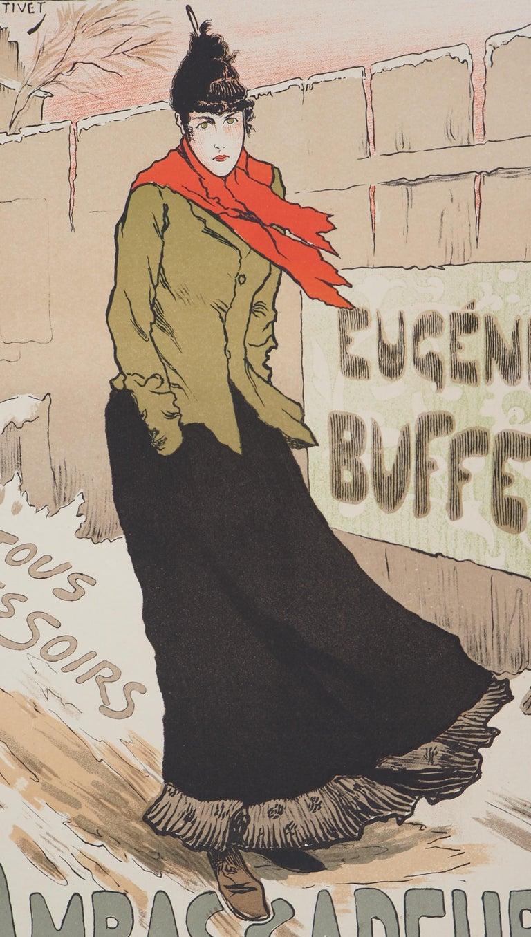 Eugénie Buffet (Ambassadeurs) - Lithograph (Les Maîtres de l'Affiche), 1895 - Beige Figurative Print by Lucien Métivet