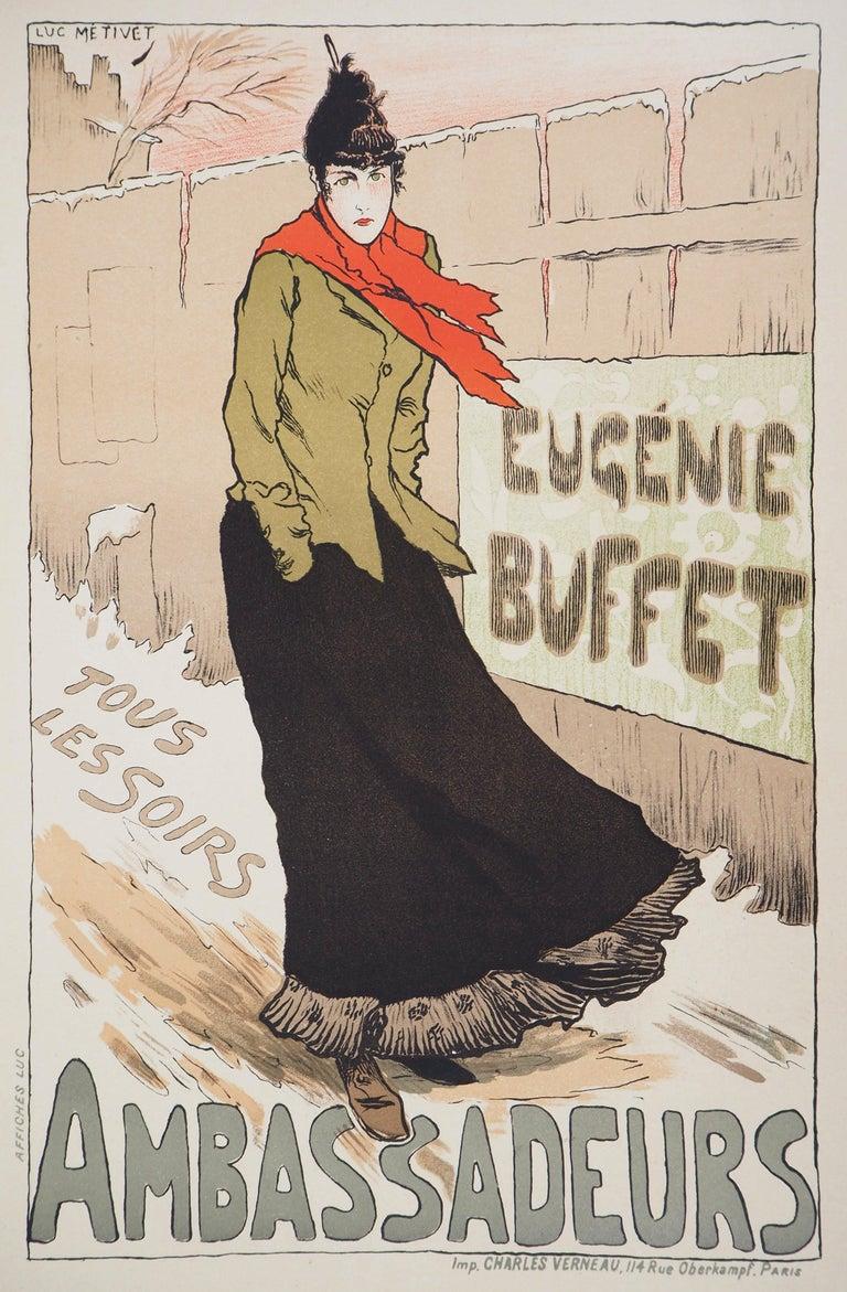 Lucien Métivet Figurative Print - Eugénie Buffet (Ambassadeurs) - Lithograph (Les Maîtres de l'Affiche), 1895