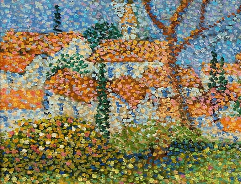 Saint Tropez - Brown Landscape Painting by Lucien Neuquelman