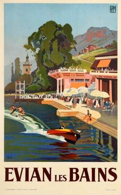 Original Vintage Art Deco Design PLM Travel Poster For Evian Les Bains Spa Town
