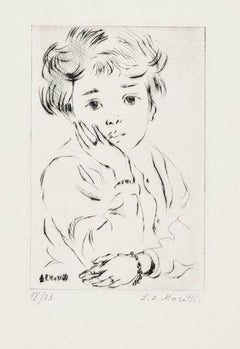 Little Girl - Original Etching by L.-P. Moretti - 1950s