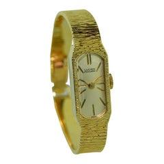 Lucien Piccard 14 Karat Solid Yellow Gold Midcentury Ladies Bracelet Watch